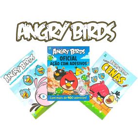 Kit 3 Revistas Angry Birds Desenhar Colorir Adesivos - Novas