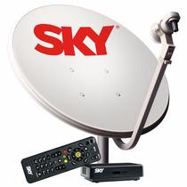Kit Sky Antena Parabólica 60cm + Receptor Digital Pré Pago