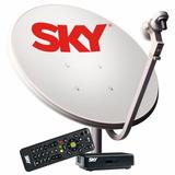 Kit Sky Antena Parabólica 60c + Receptor Digital Pré Pago Hd
