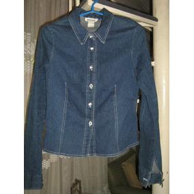 Chaqueta Blusa Abotonada Mujer Jeans Azul Talla 38