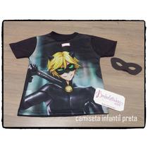 Camiseta Infantil Cat Noir Menino + Brinde - Ladybug