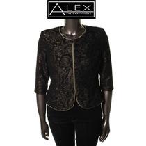 Saco Xl Alex Evenings Negro Dorado Mujer Blazer Fino Hermoso