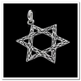Pingente Em Prata 925 - Estrela De 6 Pontas - Davi - 176