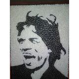 Cuadro Mick Jagger 60 X 85 Técnica Hilorama ,clavos E Hilos
