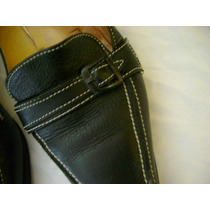 Zapatos De Dama En Cuero Taco Corrido Como Nuevos