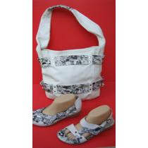 Lote Cartera+sandalias+zapatos 40 Cuero Blanco Negro-ana.mar
