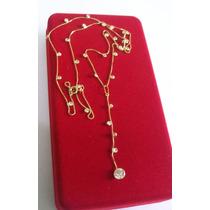 Corrente Veneziana Com Pedras De Zircônia Ouro 18k