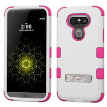 Funda Protector Triple Layer Lg G5 Blanco / Rosa C/pie Metal