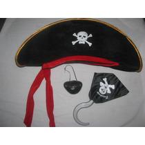 Sombrero Pirata + Garfio + Parche Cotillon