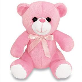 Urso De Pelucia Ursinha Feliz Rosa 15 Cm Sentada Lavavel