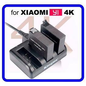 Carregador Triplo +2 Baterias 1400mah + Cabo P/ Xiaomi Yi 4k