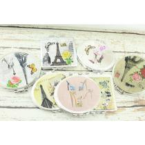 Espejo Bolsillo Recuerdo Bodaxv Paris Zapatilla Flor Vintage