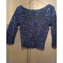 Sweater Corto En Hilo Negro Con Lurex Plateado