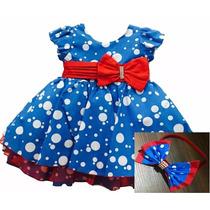Vestido De Festa Infantil Azul Galinha Pintadinha Com Tiara