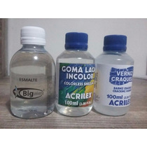 Kit Esmalte Big 120 Ml, Goma Laca 100ml Verniz Acrilex 100ml