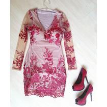 Vestido Festa Rosa Fina Em Tule Cor Da Pele Bordado