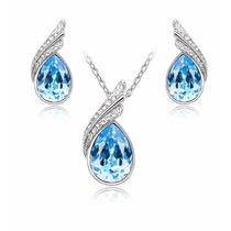 Aretes Y Collar Chapa Oro Con Cristales San Valentin + Envio