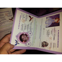 Invitación Pasaporte Princesita Sofía O Cualquier Personaje