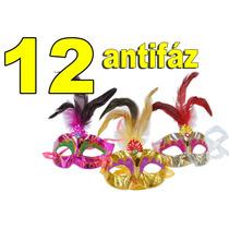 12 Antifáz Con Plumas Y Diamantina Fiestas Eventos Bodas