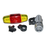 Kit Farol + Lanterna Luz Bike Iluminação Segurança Bicicleta