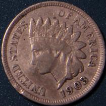 Un Centavo 1903 Eeuu Cabeza Indio Cobre Rara Buen Estado Ipp