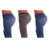 Calça Modeladora Lejeans Polishop - 3un (azul+preta+vintage)