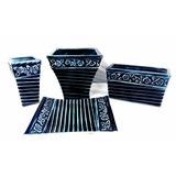 Conjunto Cachepos E Centro De Mesa Provençal Azul Cerâmica