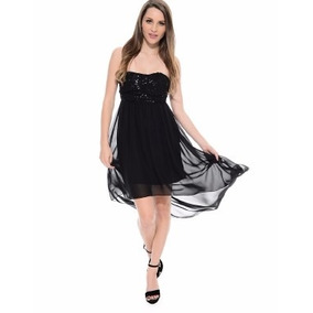 Vestido De Gasa Strapless, Irregular Con Lentejuelas
