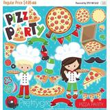 Kit Imprimible Pizza Party Imagenes Clipart Cod 3