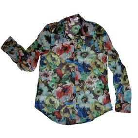 Camisa Manga Larga Gasa Estampada Ebony Indumenraia