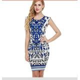 Vestido Casual Importado A Pronta Entrega Estampa Azulejo