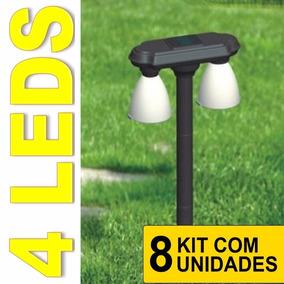 Luminaria Jardim Solar 4 Lamp. Leds Lumin Kit 8 Peças