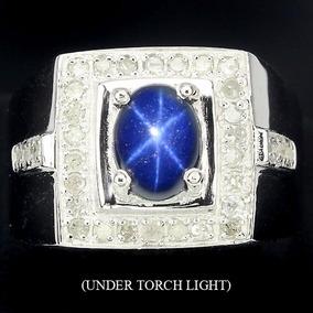 Anillo De Zafiro Estrella Y .64 Cts De Diamantes Naturales
