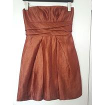 Vestido Corto De Fiesta Color Ocre Strapless