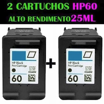2 Cartuchos De Tinta Hp 60 Xl Preto 25 Ml Tinta Compatível