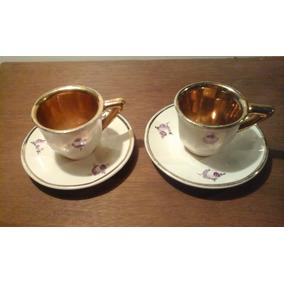 Antiguo Juego De Cafe Dorado Porcelana Tadeco Sellada 4 Piez