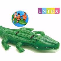 Boia Inflável Jacaré Gigante 2 Crianças Intex 203 X 114 Cm