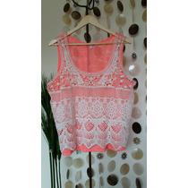 Polera Rosado Fluor - Crochet Talla Xl