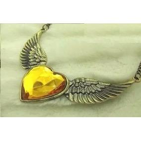 Colar Cordão Pingente Asa Anjo Coração Pedra Amarela 241