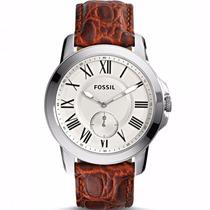 Relógio Fossil Masculino Pulseira De Couro Marrom Fs4963/0xn