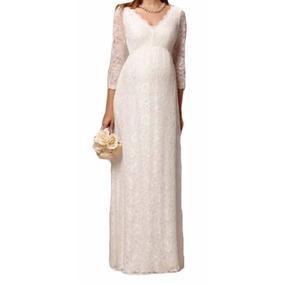 Vestido Noiva Gestante Festa Simples Casamento Manga Vrl164