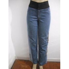 Calça Jeans 44 Tipo Customizada Com Correntes Bom Estado