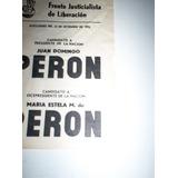 Boleta Elecciones 23 Septiembre 1973 Formula Peron -peron