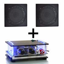 Kit Som Ambiente 2 Arandelas Quadrada Pretas E Amplificador
