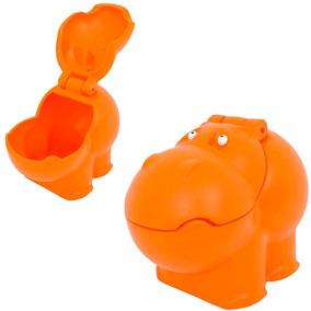 Baú Hipopótamo Polietileno Laranja Guarda Brinquedos Xalingo