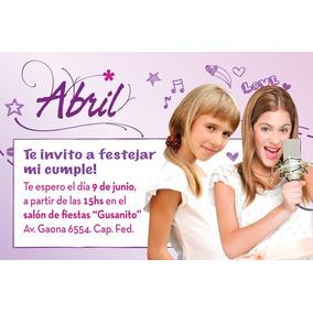 Invitaciones Personalizadas Con Violetta X20