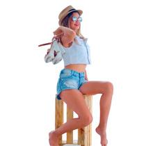 Short Jeans Feminino Solto Lycra Shortinho Panicat Blogueira