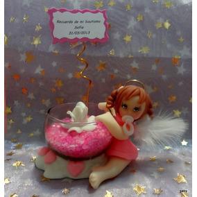 5 Souvenirs Portavelas Para Bautismo Nenas Porcelana Fria