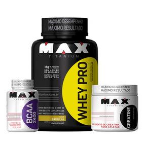 Combo Massa Musc - Whey + Bcaa + Creatina Max Titanium Moran