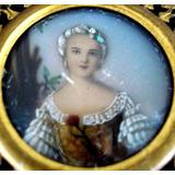 Antiga Pintura Em Miniatura S/ Celuloide Fig. Dama 7x7cm